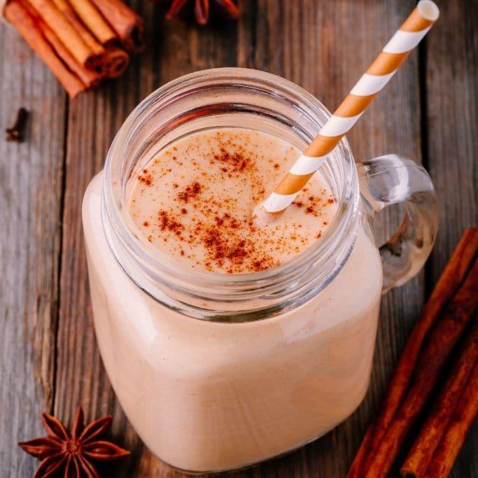 pumpkin smoothie with paper straw