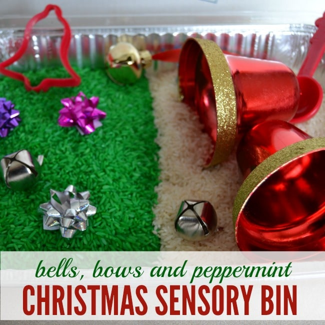 Bells, Bows and Peppermint Christmas Sensory Bin