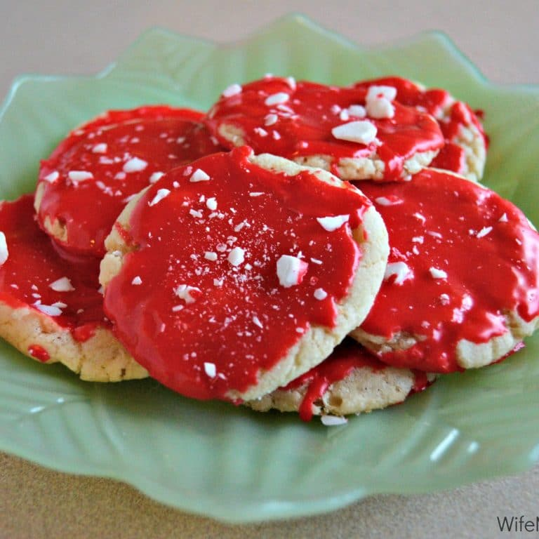 Sugar cookies with refreshing peppermint icing and crushed peppermint candies