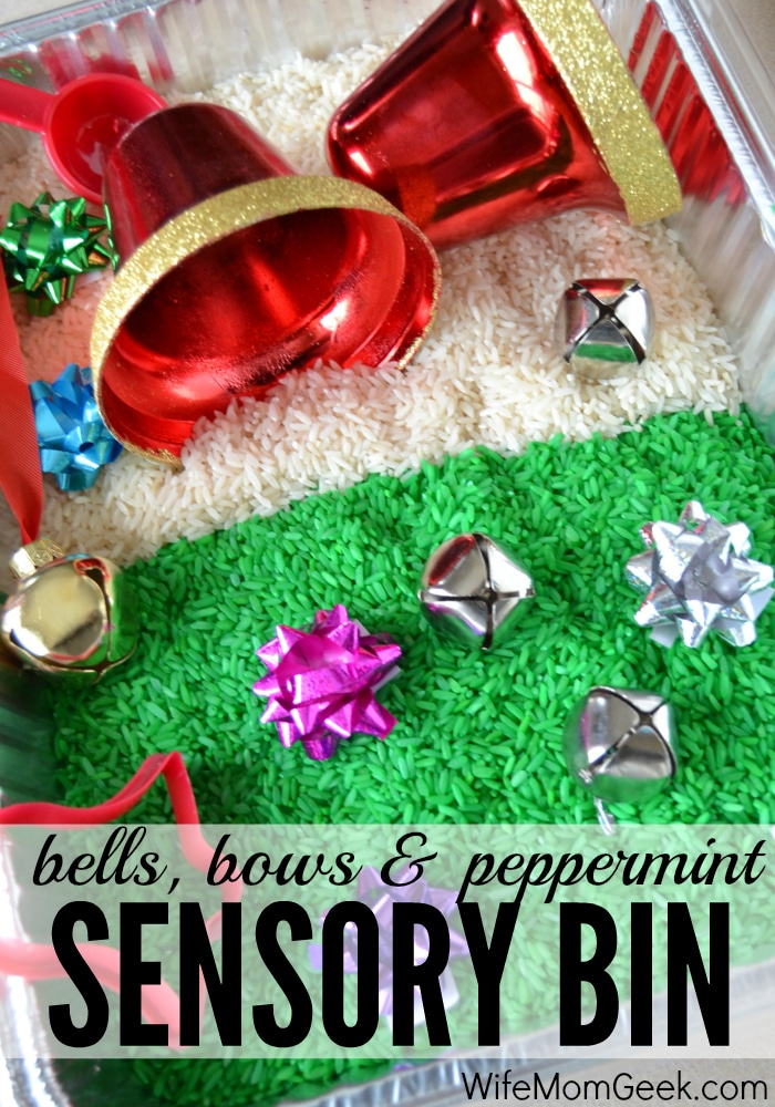 Check out this Christmas-themed sensory bin that includes bows, jingle bells, large bells for scooping and pouring and peppermint-scented green rice.