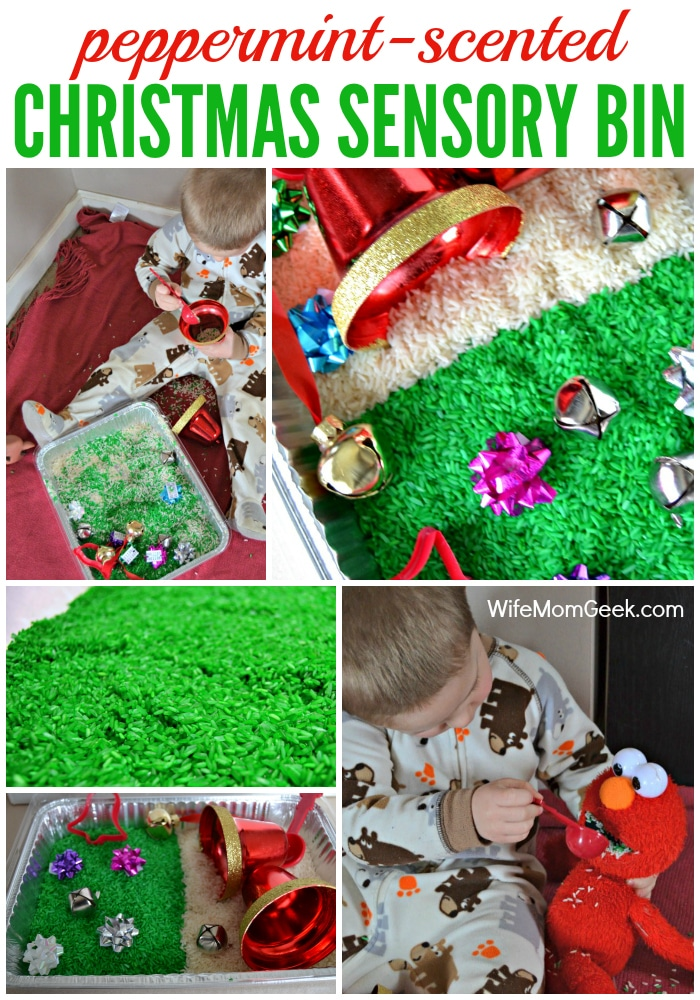 Christmas Sensory Bin with a Bows and Bells theme