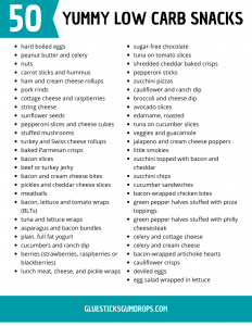 printable list of 50 low carb snacks