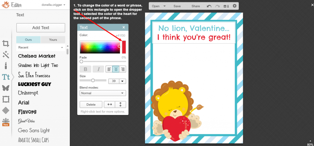 Creating a Valentine in Picmonkey - screenshot 10