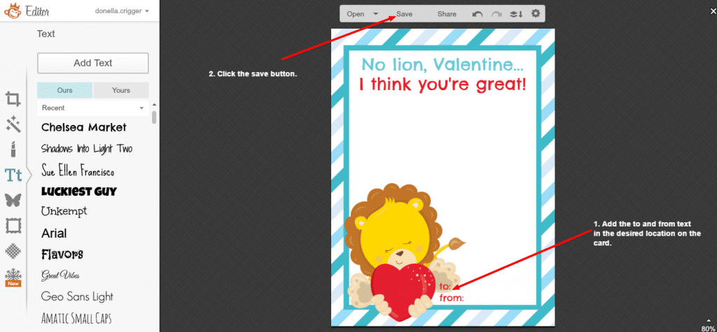 Creating a Valentine in Picmonkey - screenshot 11