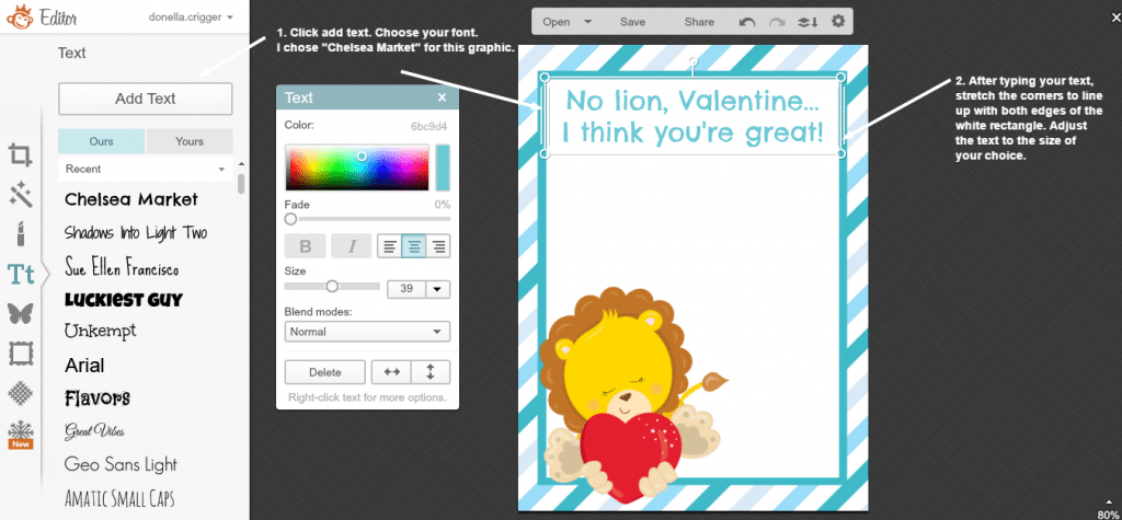 Creating a Valentine in Picmonkey - screenshot 9