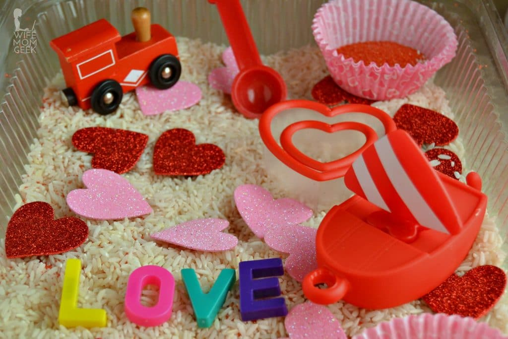 Boat and Train in Valentine's Day Sensory Bin