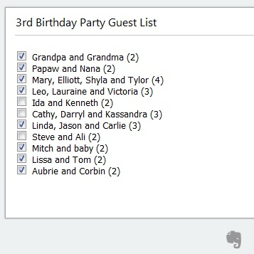 How to make a guest list in Evernote