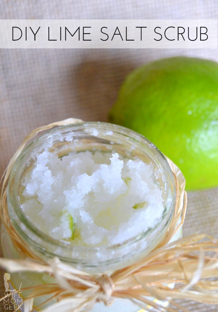 DIY Lime Salt Scrub. I bet this smells amazing! Tutorial by Wife Mom Geek