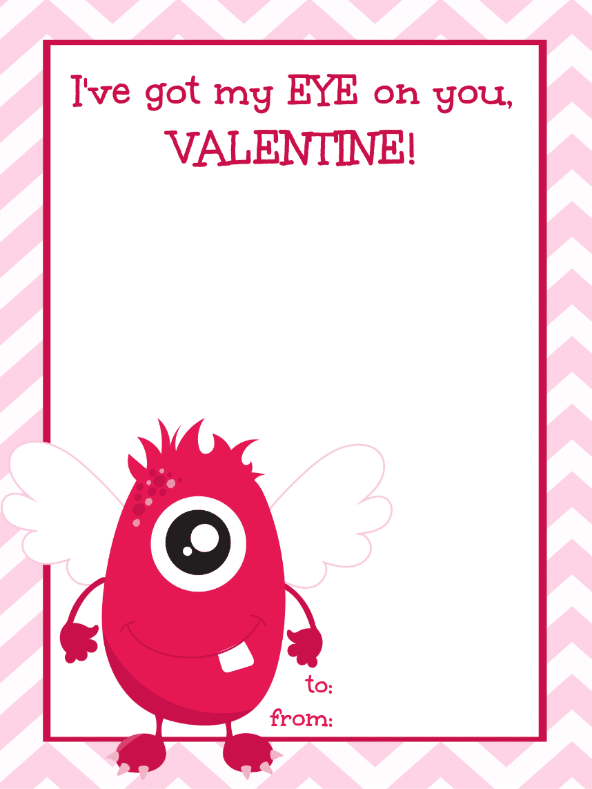 Printable Monster Valentines and Memory Match Game