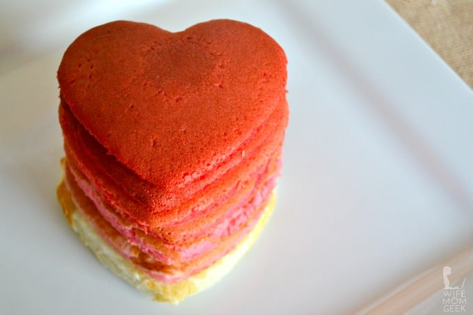Ombre Heart-Shaped Pancakes (Without Eggs)