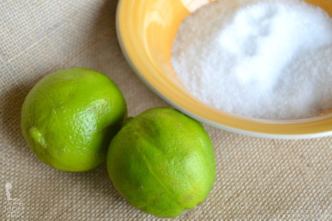 Ingredients for Lime Salt Scrub