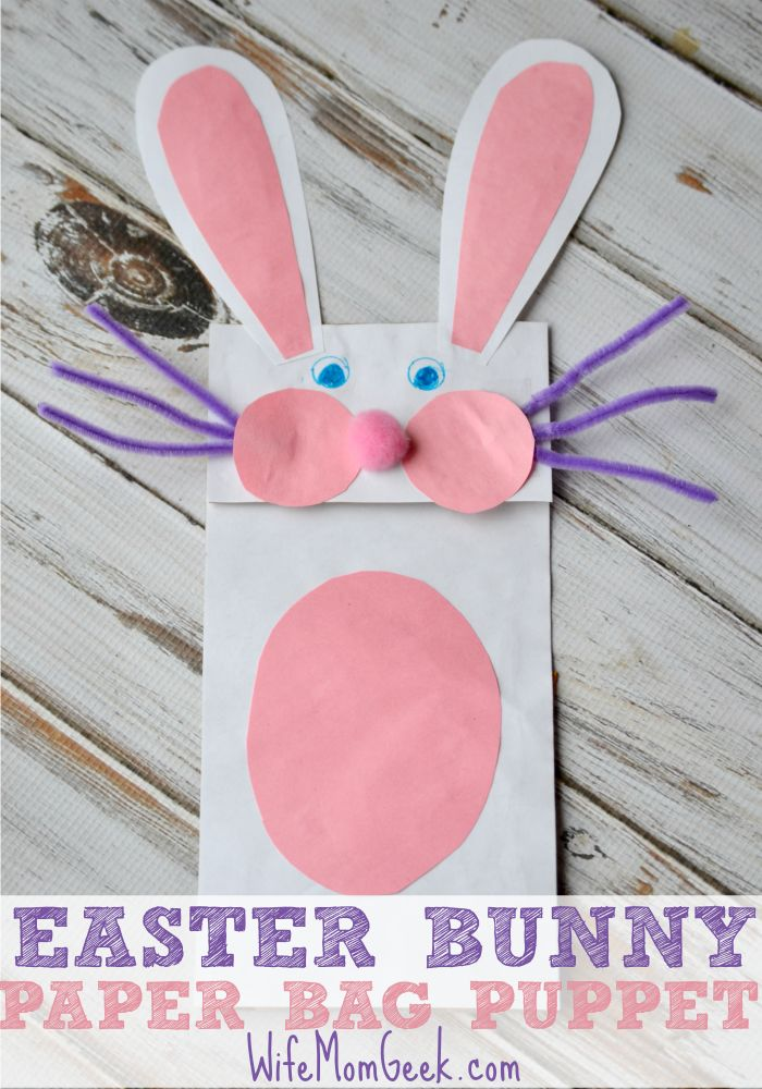 Bunny Paper Bag Puppet for Easter