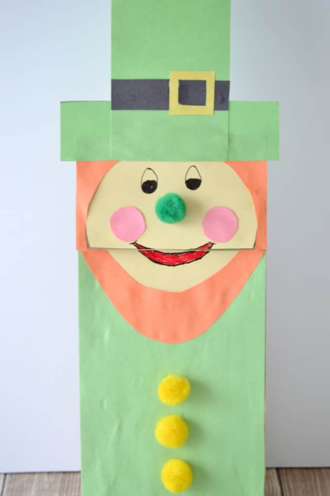 Leprechaun paper bag puppet for st patricks day i meant to draw out a template for you like i did with this turkey paper bag puppet but my son was eager to play with it and couldnt wait another five sciox Choice Image