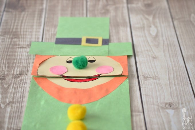 Leprechaun Paper Bag Puppet for St. Patrick's Day