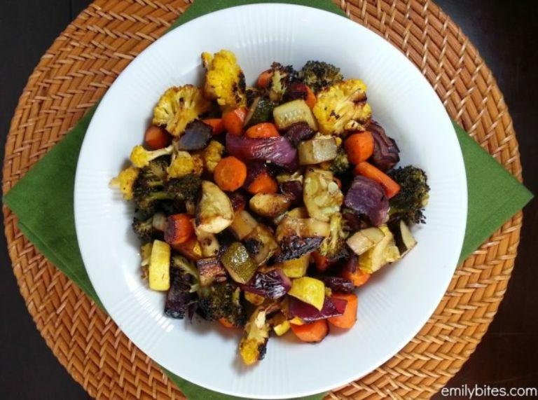 veggies roasted in olive oil and balsamic vinegar