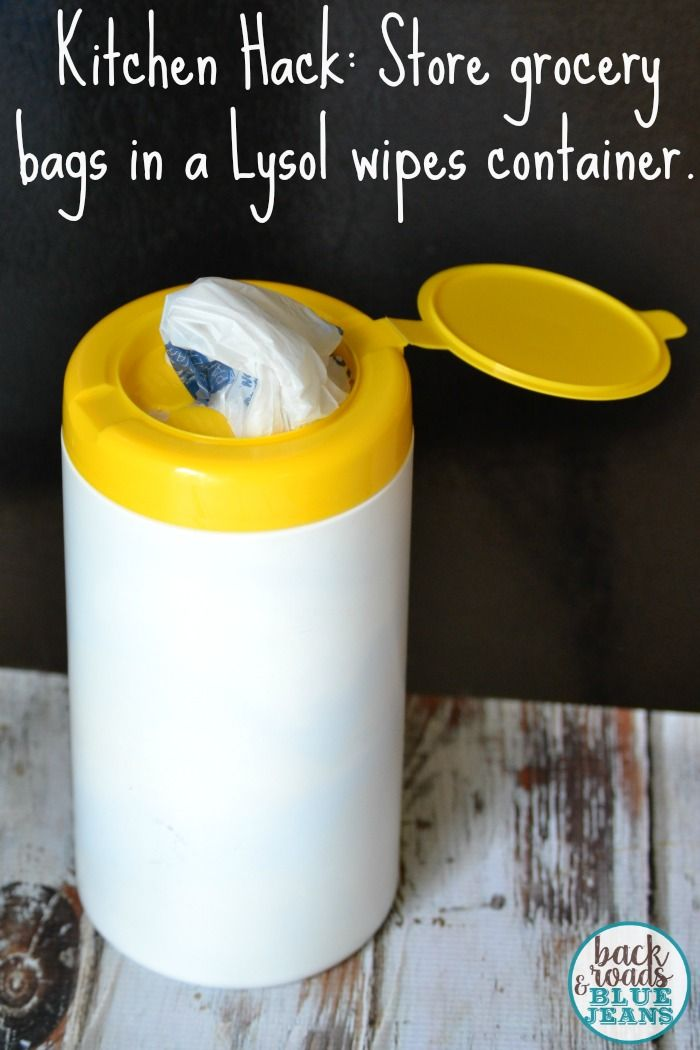 Kitchen Hack Storing Plastic Grocery Bags