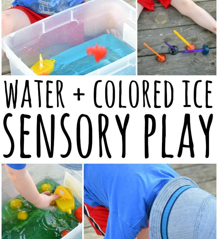 Water Play Sensory Bin with Colored Ice