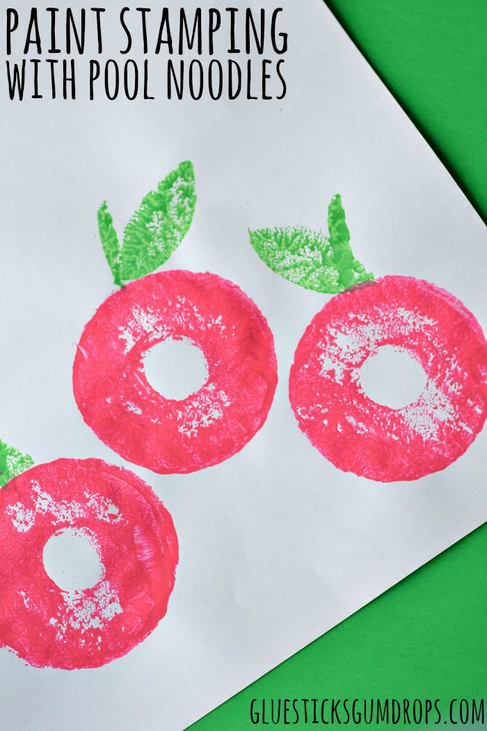 Apple craft - paint stamping with pool noodles
