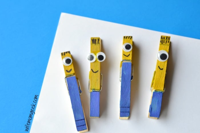 Minion clothespin crafts for kids