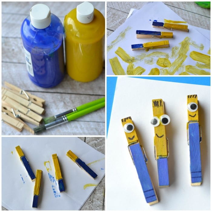 minion clothespin craft for kids