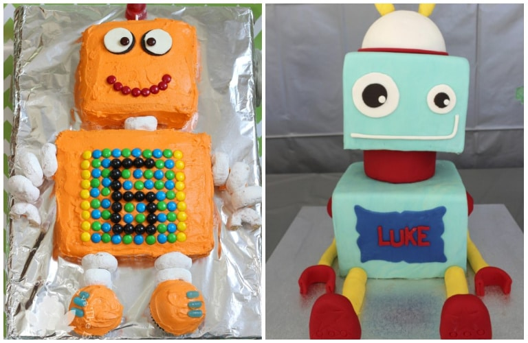robot cake ideas - some easy to make and some made by a professional cake decorator