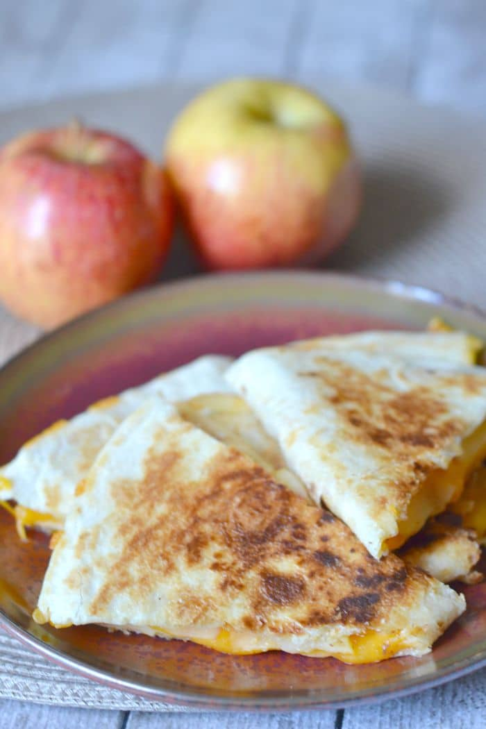 Apple cheddar quesadillas are a super easy lunch idea that kids and adults will love.