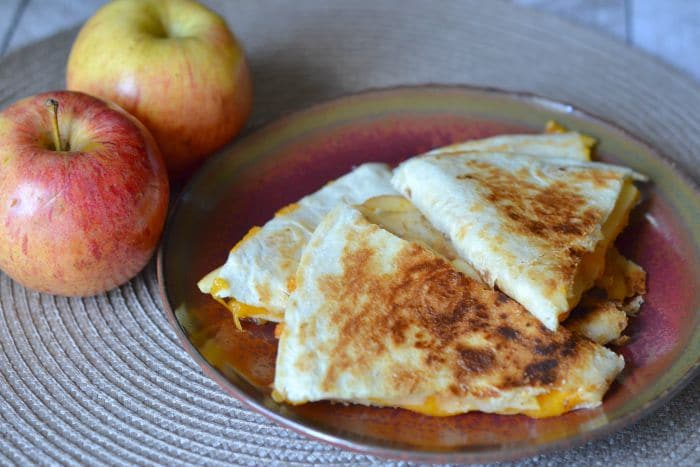 Delicious apple and cheddar quesadillas