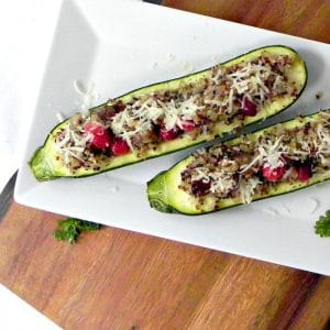 Quinoa and Sausage Stuffed Zucchini. Quick and easy and full of goodness