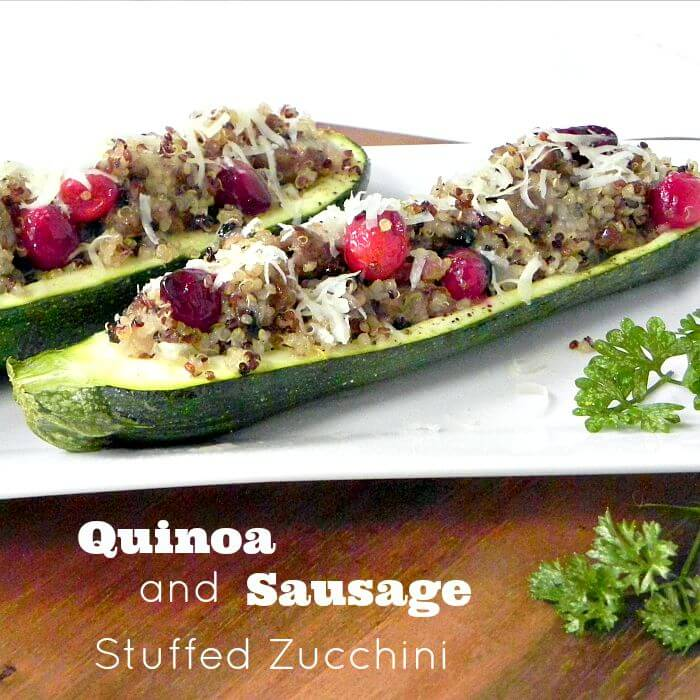 Quinoa and Sausage Stuffed Zucchini. Easy and quick and good for you too.