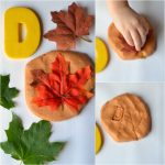 D is for Deciduous: Leaf Stamping With Pumpkin Pie Playdough