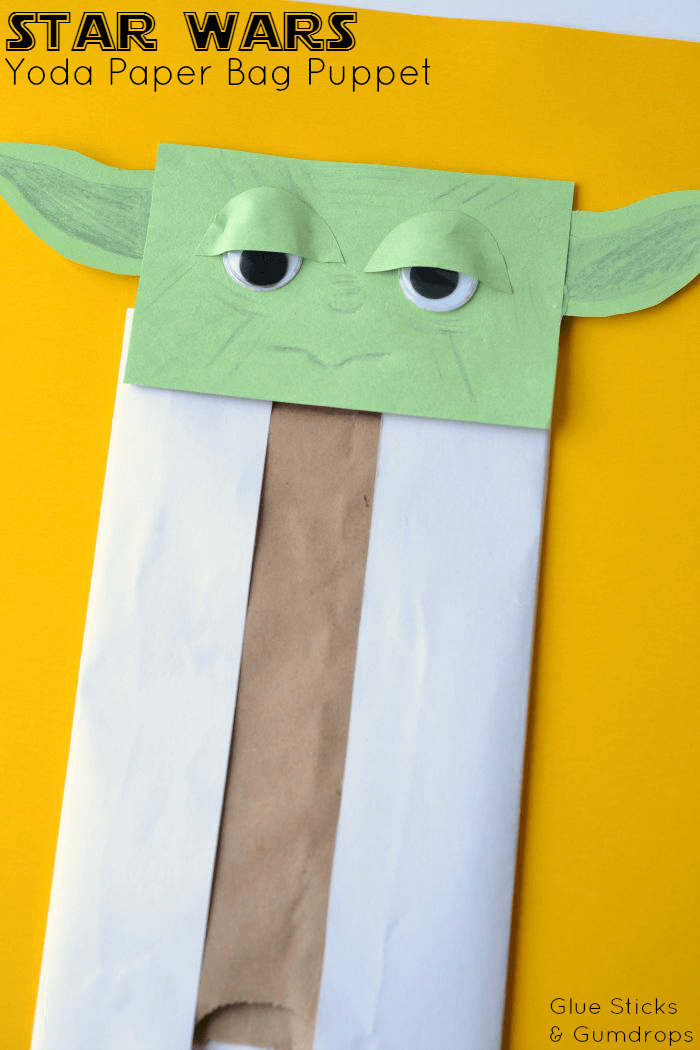 star wars arts and crafts yoda paper bag puppet glue sticks and gumdrops 7193