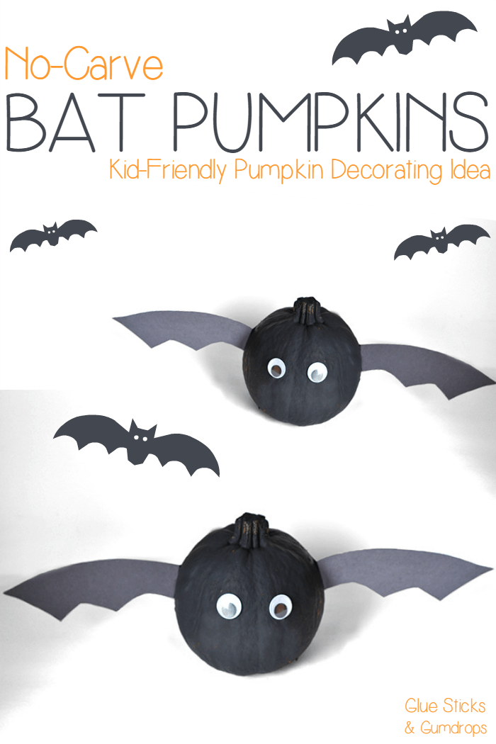 Bat Pumpkins No-Carve Jack-O-Lantern