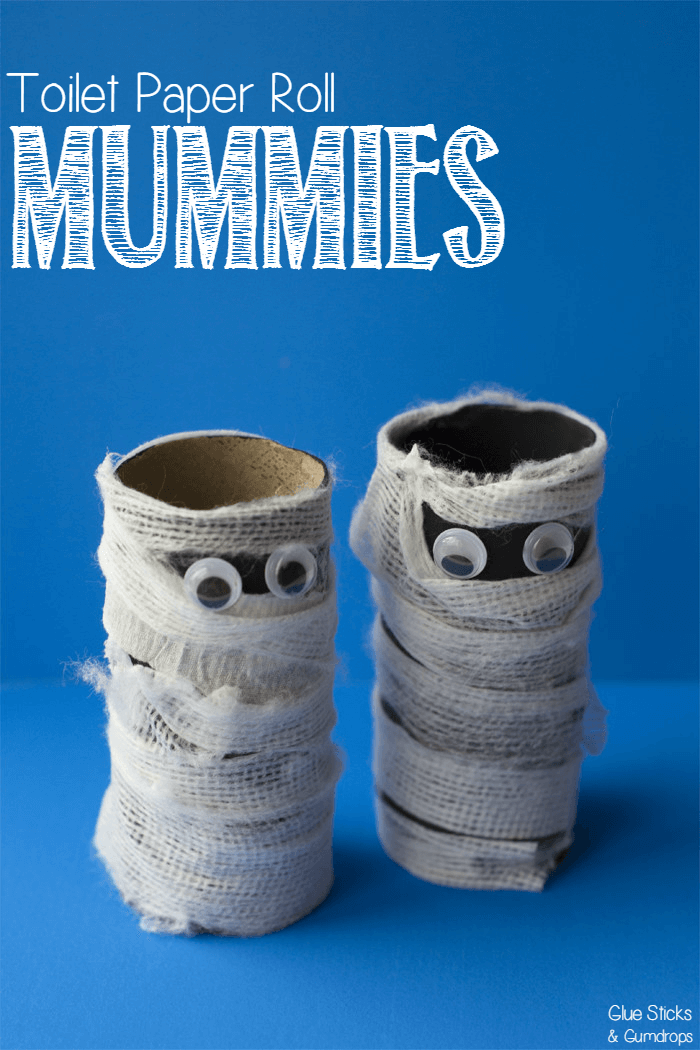 Toilet paper roll mummy craft for halloween for Fun crafts with toilet paper rolls