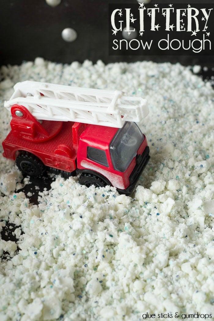 glittery snow dough