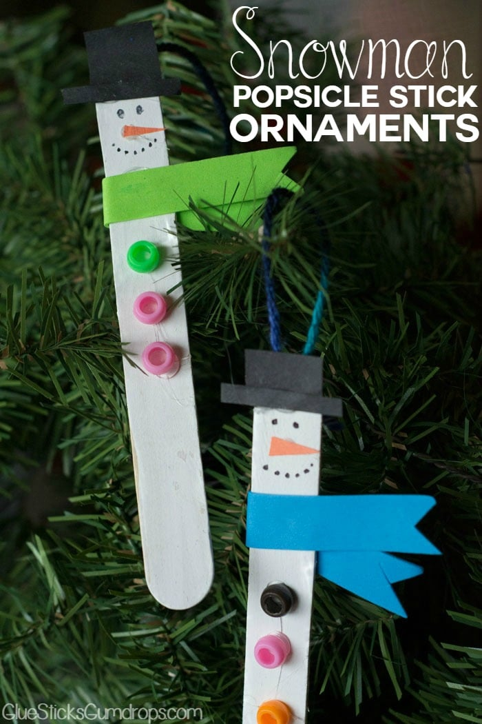 Snowman Popsicle Stick Ornaments - Great Preschooler Craft