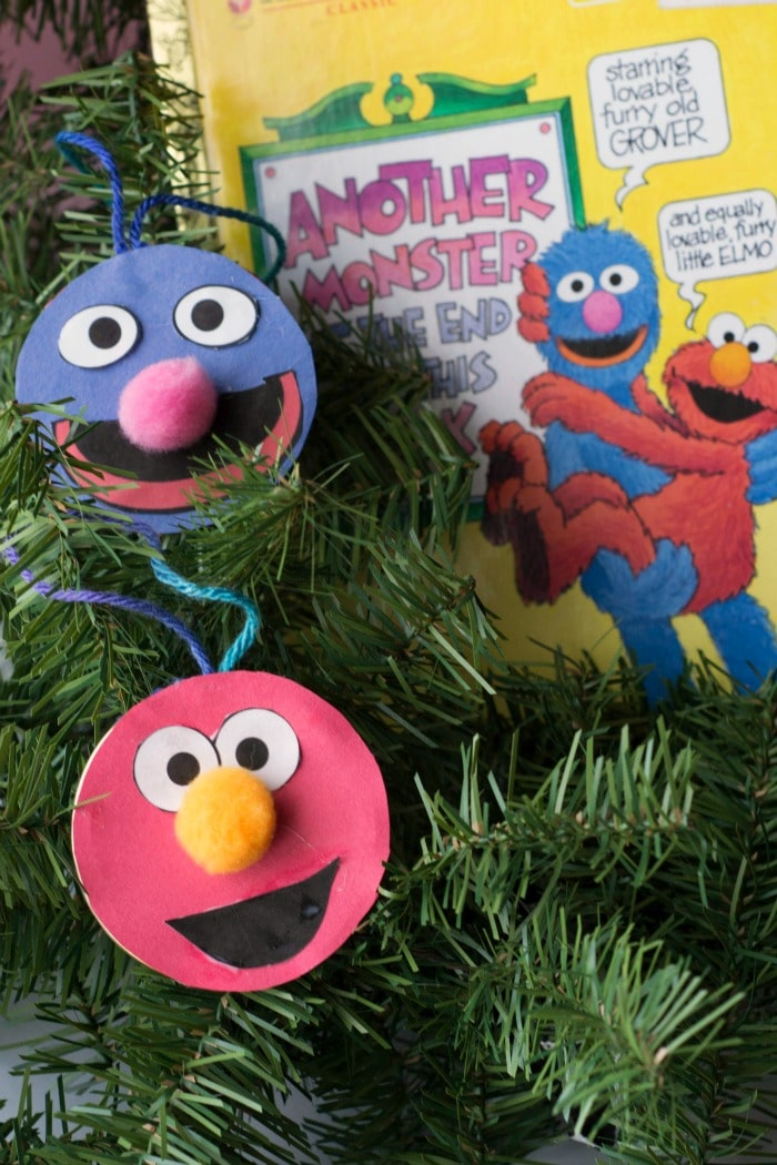 Double-Sided Elmo and Grover Ornaments - Glue Sticks and Gumdrops