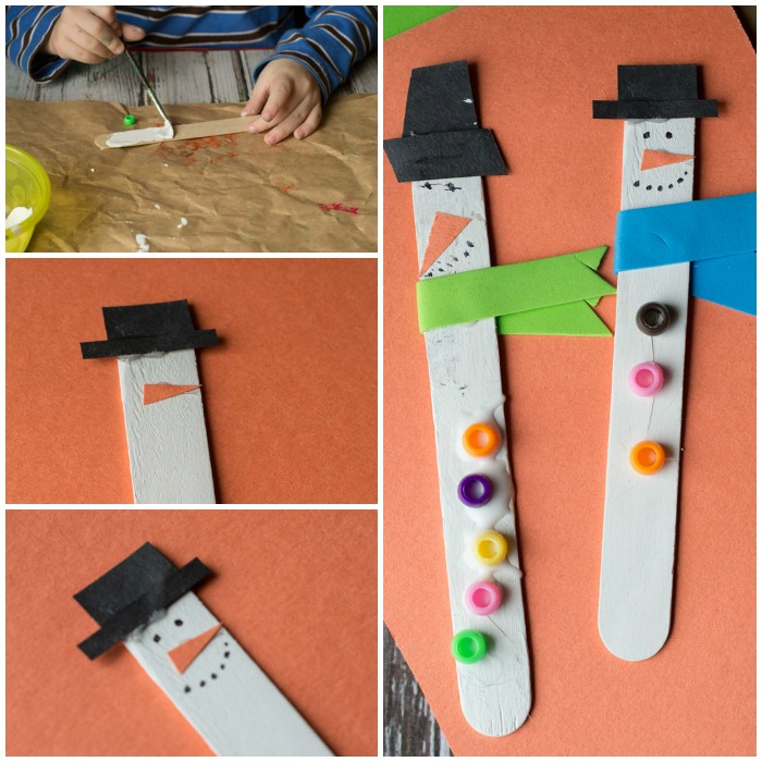 how to make snowman popsicle stick ornaments
