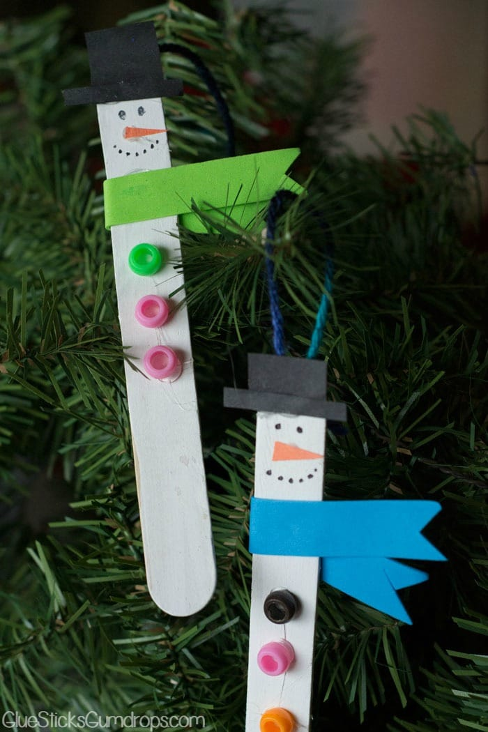 Snowman Craft Stick Ornaments