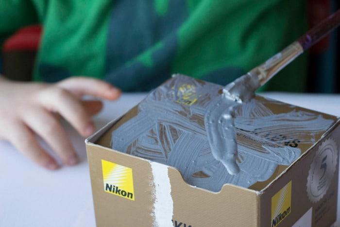 painting the robot valentine box
