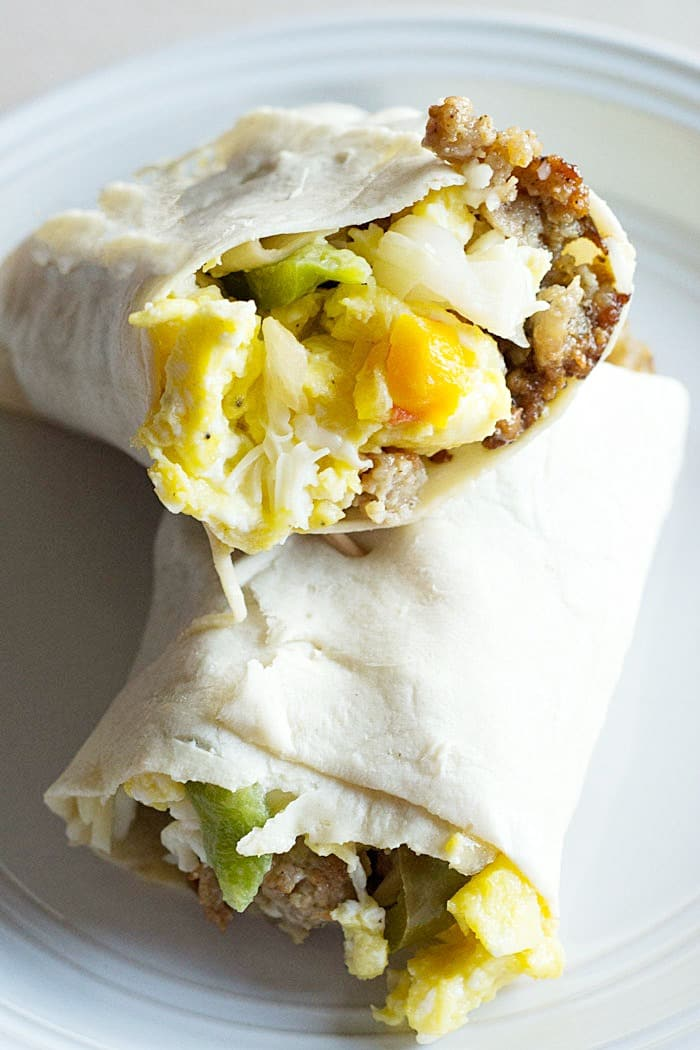Low Carb Sausage Egg and Peppers Breakfast Burrito