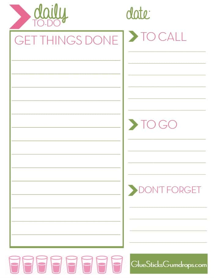 Free printable daily to do list glue sticks and gumdrops for To do planner online