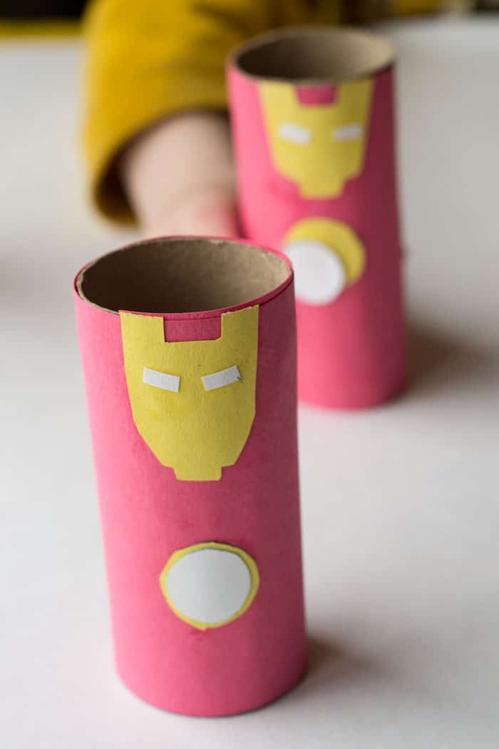 Fun Avengers crafts and activities shared by top US Disney blogger, Marcie and the Mouse: iron-man-cardboard-tube-craft-5