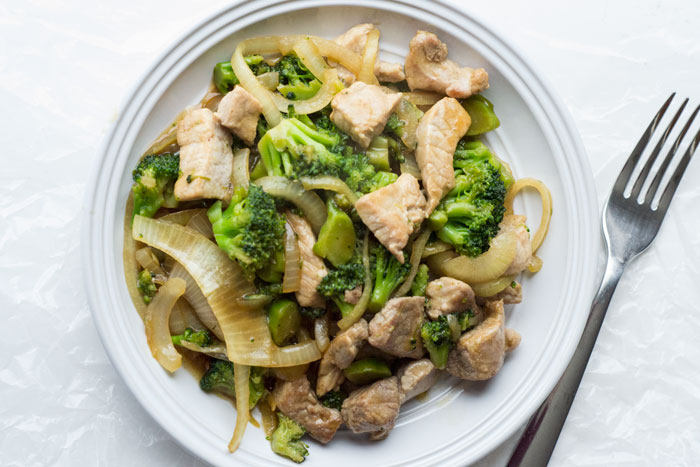 Pork Stir Fry With Broccoli and Onions