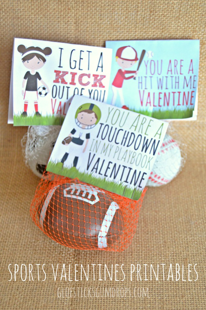 Sports Valentine Printables for Soccer, Football, Baseball & Basketball