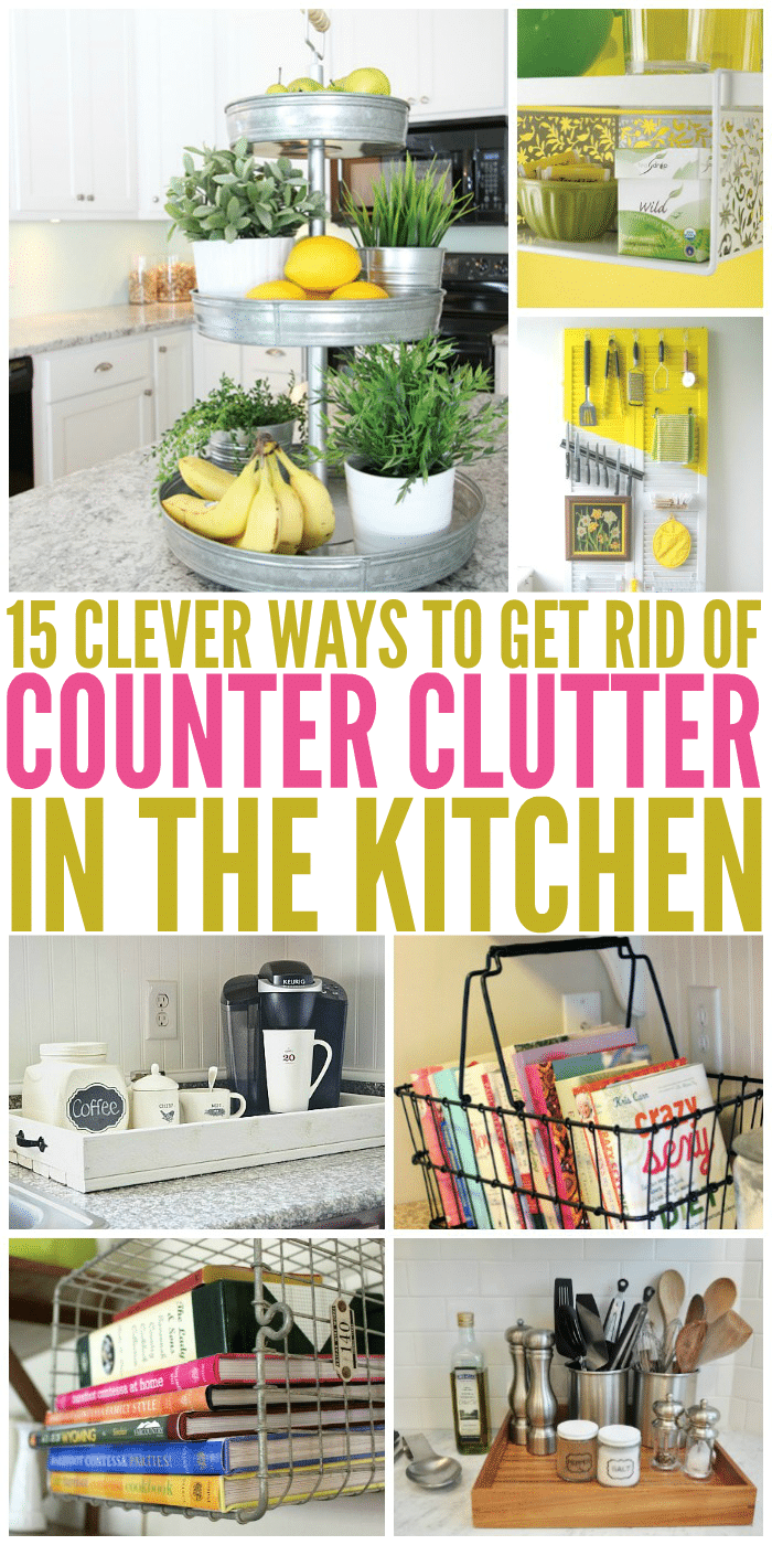 15 clever ways to get rid of kitchen counter clutter for Ways to get rid of clutter