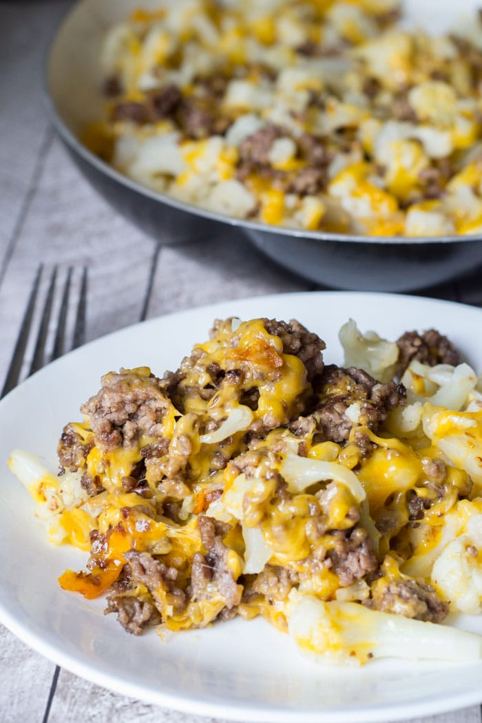 Cauliflower Ground Beef Hash - an easy, cheesy low carb dish!