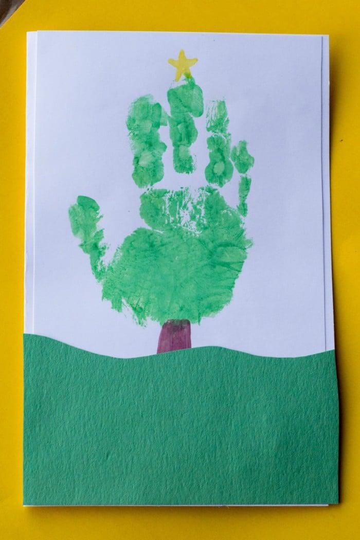 Handprint Christmas Tree Card Keepsake