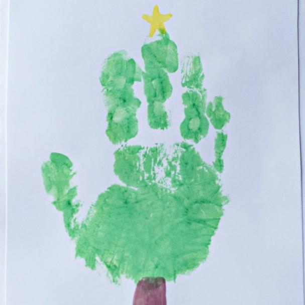 Handprint Christmas Tree Card