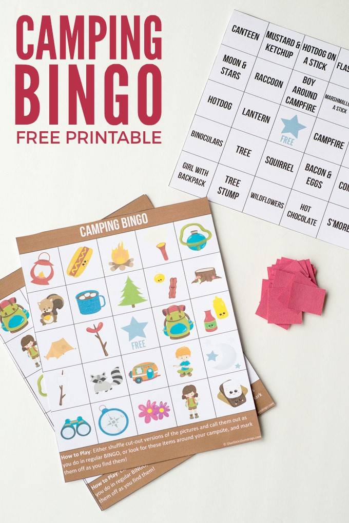 Camping Bingo Free Printable Cards - Glue Sticks and Gumdrops