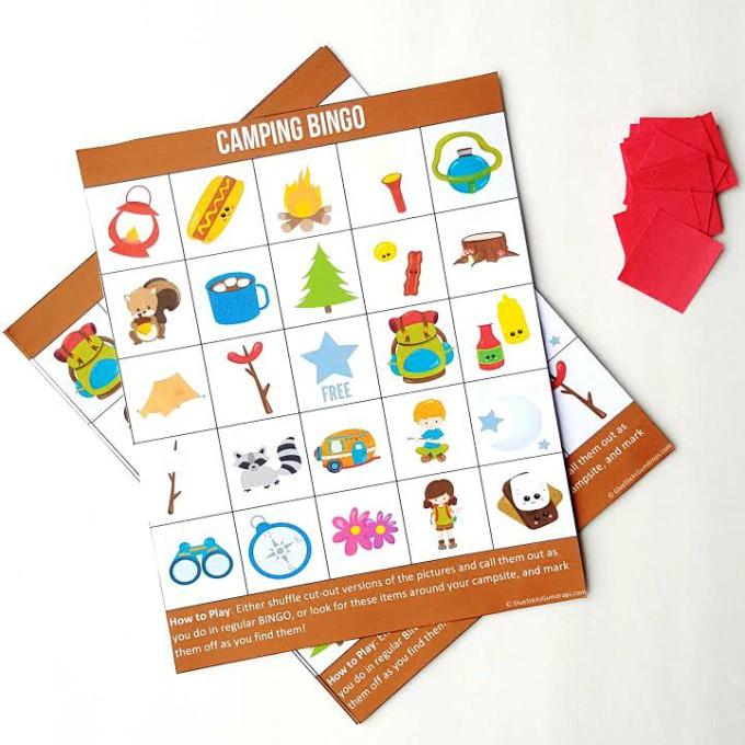 Camping Bingo Free Printable Cards